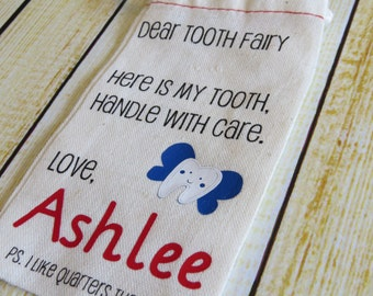 Tooth Fairy muslin bag - Personalized with your child's name