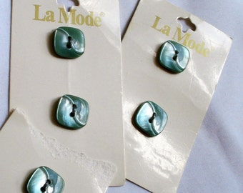 Small Iridescent Green Square Vintage Buttons on Cards, 5 buttons