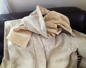 Vintage 1950's Ivory Brocade Evening Swing Coat with Sash Scarf
