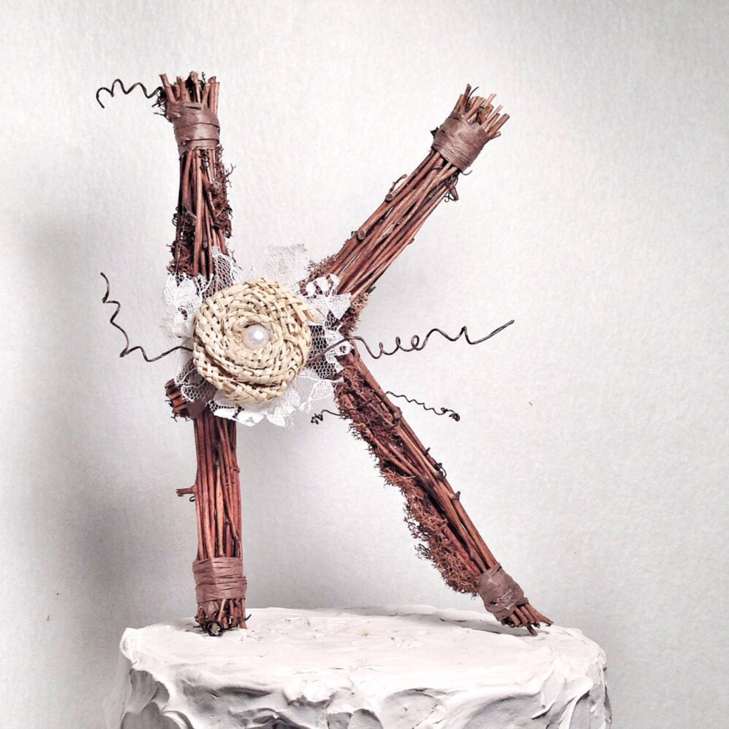Letter K Rustic Twig Wedding Cake Topper by TheOriginalTwig