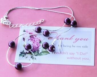 Flower girl , Bridesmaids Pearl Jewelry Set.