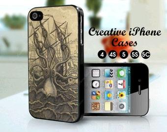 iPhone 5 Case of Vintage Kraken fits iPhone 5C, iPhone 5S, iPhone 5, iPhone 4S, iPhone 4