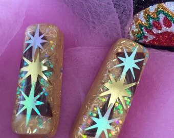 Atomic Stars, Glitter, and Fabric Lucite Earrings