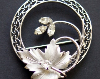 Vintage Carl Art CA Sterling Silver Clear Rhinestone Leaf Pin Pendant