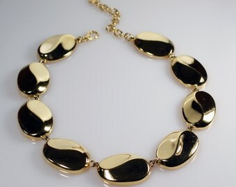 Givenchy Necklace, Givenchy Jewelry, Vintage Gold Tone Choker Necklace, Chunky Necklace, Designer Necklace, Runway Necklace