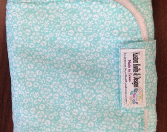 Baby changing pad in light blue and white flowers- gender neutral