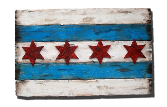 Handmade Distressed Wooden Chicago Flag By