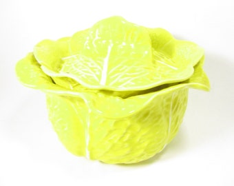 Vintage Yellow Selca of Portugal Cabbage Soup Tureen with Lid, Cabbage Bowl,