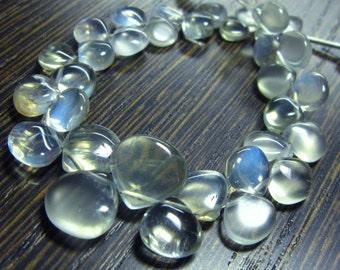 "AAA-Rare Ceylon Moonstone Smooth Heart Briolette- 7"" Strand -Stones measure- 6-10mm"