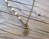 Anchor and Pearl Necklace