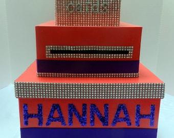 Neon Pink  Purple Card Box Bling Ribbon Bat Mitzvah Sweet 16