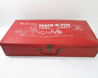 Red Metal Tool Chest, Teach N Fun Tool Box