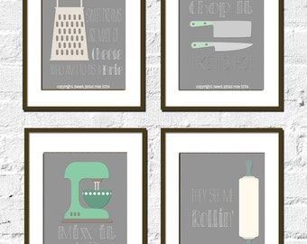 Kitchen Print - Home Decor - Fun Print - Mix It Up - They See Me Rollin' - Chop It Like It's Hot - Typography Poster -Customize Colors