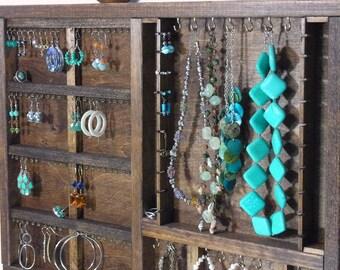 Jewelry Organizer Display Hanger Holder Honey Walnut Stain Handmade Large