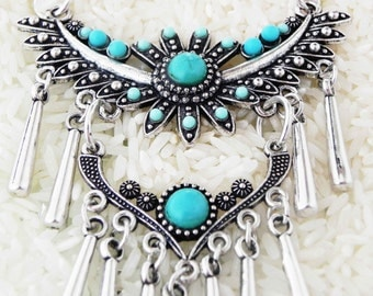 Aztec Eagle turquoise choker necklace southwestern tribal jewelry