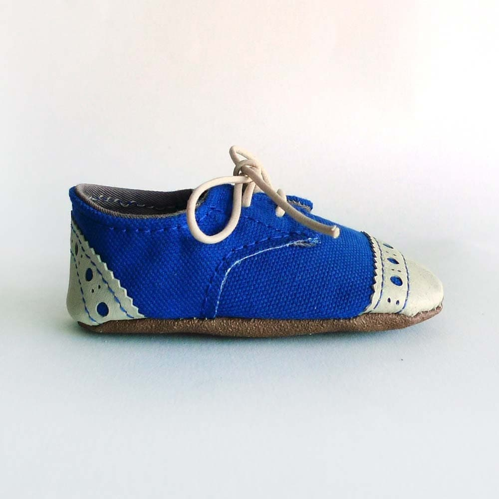 Baby Shoes Boy Or Girl Royal Blue Canvas With Brogued Beige