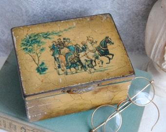 Vintage Trinket/Cigarette/Tin Box/Metal Storage/Horse and Buggy