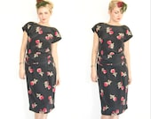 Vintage 30s Style Dress / 50s Style Dress / Floral Dress / Leslie Fay Dress / Flower Print / Floral Print / Backless