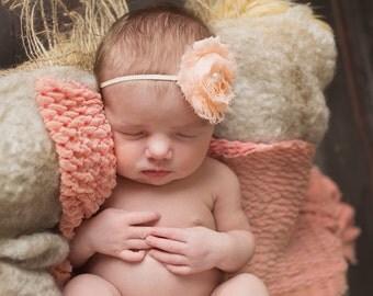 Peach flower , baby headband, newborn headband, infant headband