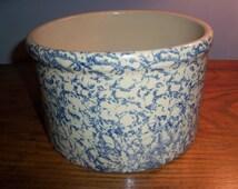 Roseville Pottery 2 Quart Low Crock Blue