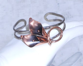 Rare Vintage Stuart Nye Sterling silver and copper electroplate cally lilly cuff bracelet