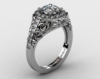Italian 14K White Gold 1.0 Ct White Sapphire Diamond Engagement Ring Wedding Ring R280-14KWGDWS