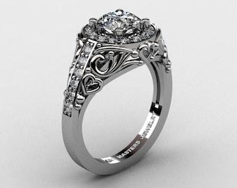 Italian 14K White Gold 1.0 Ct Cubic Zirconia Diamond Engagement Ring Wedding Ring R280-14KWGDCZ