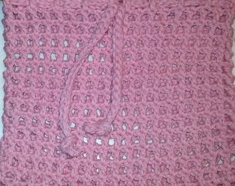 Cotton Laundry Bag Crochet Mesh Drawstring Bag