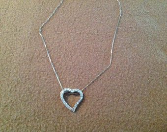 Vintage Sterling Silver Necklace with Heart Pendant with Rhinestones