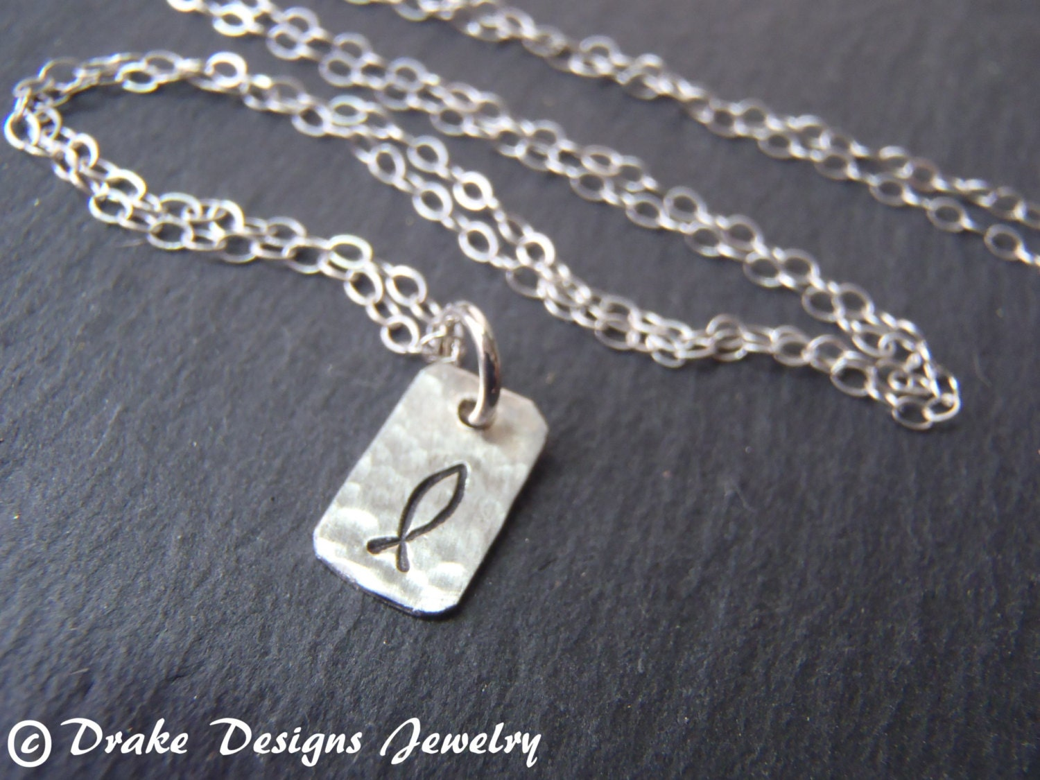 tiny sterling silver ichthus necklace sted christian