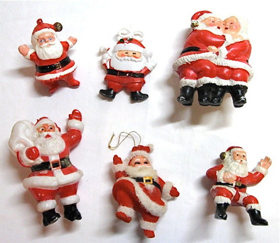 Lot Of 5 Vintage Christmas Decorations Kitsch Santa Claus: Collection Of Retro Kitsch Santas Japan Hong Kong