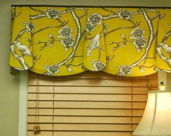 "Custom Window Treatment PEYTON Hidden Rod Pocket Valance fits 33""- 46"" window, Made to  order with your fabrics, my LABOR and lining"