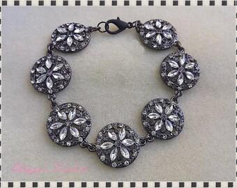 Black Metal Filigree Crystal Bracelet