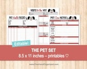 The Pet Set - Dog Care Organizer - Pet Care Organizer - EDITABLE - Organizing Printables