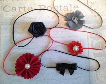 set 5 headbands, baby headbands, newborn headbands, wedding headband, flower headbands, vintage headbands, dainty headbands, pink headbands