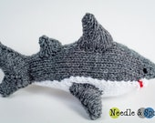 Hand knit gray shark plush, shark softie, kid toy, stuffed animal, amigurumi