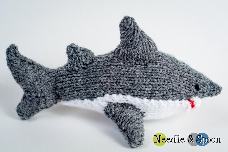 Hand knit gray shark plush shark softie kid toy by ...