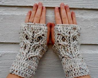Ready to Ship - Owl Fingerless Mitts, Fingerless Gloves, Owl Mitts, Owl Gloves, Owl Fingerless, Animal Mittens, Fingerless - Ivory Fleck