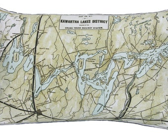 Kawartha Lakes Canada Vintage Map Pillow - FREE SHIPPING