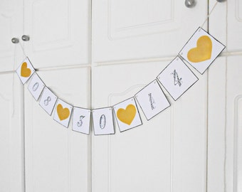 FREE SHIPPING, Save The Date banner, Bridal shower banner, Engagement party decoration, Photo prop, Custom banner, Bachelorette decor, Gold