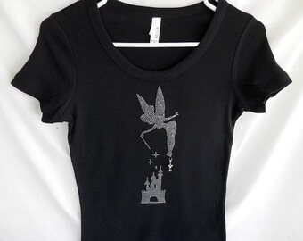 Rhinestone Tinker Bell & Disney Castle With A Removable Mickey Mouse Key Charm Or Choose From 4 Disney Charms See 2nd Picture Disney Shirt