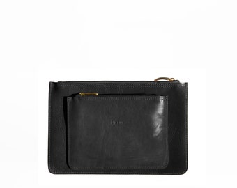Set of 2 // Black Small Clutches, Leather purses