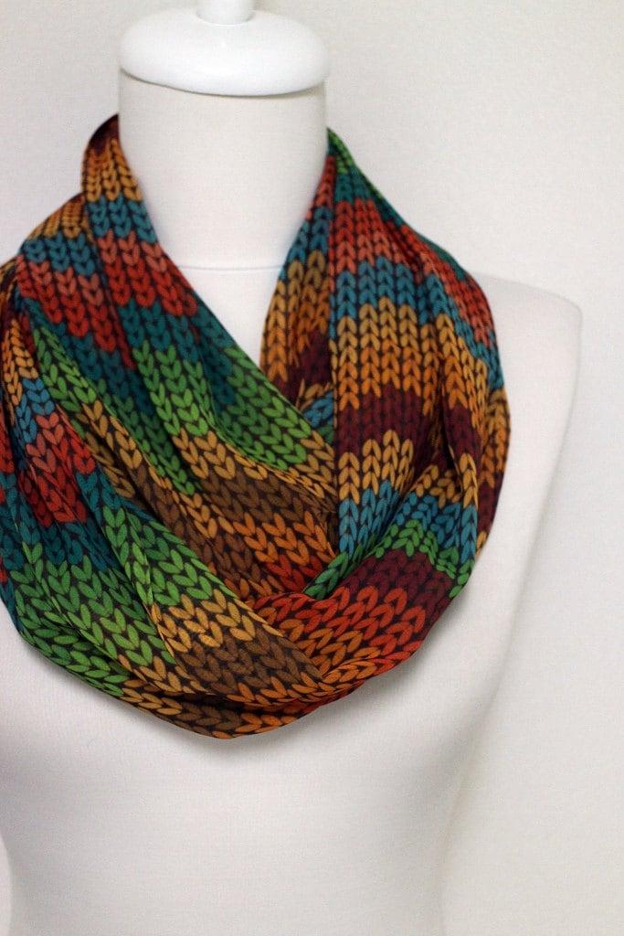 Chevron Knit Pattern Chiffon Fabric Infinity Scarf Colorful Scarf