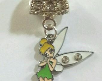 Authentic Disney Tinkerbell rhinestone charm for European Bracelets