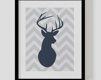 Deer Silhouette Print - Chevron Stag Antlers - Personalized ANY Colors - Customized Wall Christmas Print