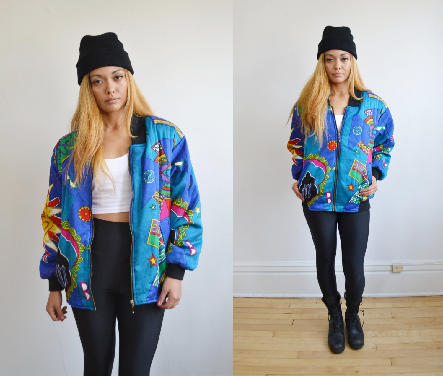 90s INDIAN sun printed silky bomber jacket // grunge revival