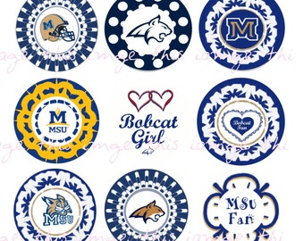 Printable Montana Bobcats Bottle Cap Images (One Inch Circles)