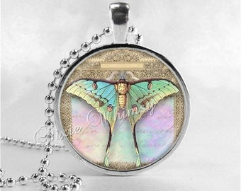 LUNA MOTH Necklace, Butterfly Necklace, Butterfly Pendant, Butterfly Jewelry, Butterfly Charm, Glass Photo Art Necklace, Insect Jewelry