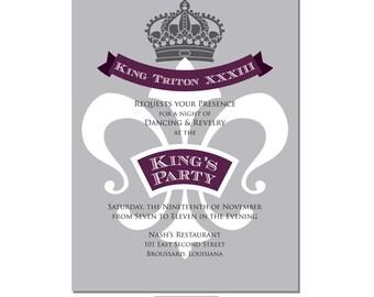 Mardi Gras Invitation, King Themed Invitation, Royalty Invitation