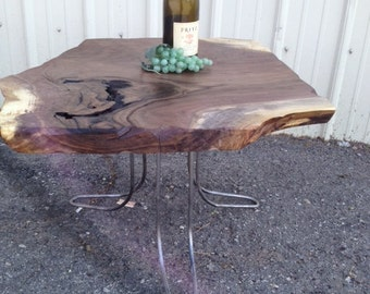 Modern Black Walnut End Table W/ Curved Hairpin Legs